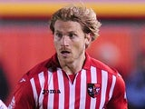 Christian Ribeiro of Exeter City in action during the Sky Bet League Two match between Exeter City and Wycombe Wanderers on October 21, 2014