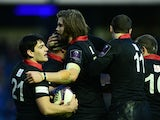 Rory Sutherland of Edinburgh Rugby celebrates scoring his Try with team mates Ben Toolis and Sam Hidalgo-Clyne during the European Rugby Challenge Cup match, between Edinburgh Rugby and London Welsh at Murrayfield Stadium on December 7, 2014