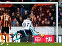 Graham Dorrans of West Brom has his penlaty kick saved by goalkeeper Allan McGregor of Hull City during the Barclays Premier League match on December 6, 2014