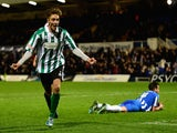 Blyth Spartans player Jarrett Rivers celebrates after scoring the second goal during the FA Cup Second round match against Hartlepool United on December 5, 2014