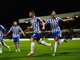 Jonathan Franks of Hartlepool (7) celebrates after scoring the opening goal during the FA Cup Second round match against Blyth Spartans on December 5, 2014