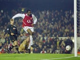 Kanu of Arsenal scores a goal during the Carling Cup fourth round match between Arsenal and Wolverhampton Wanderers at Highbury on December 2, 2003