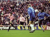 Kevin Phillips of Sunderland scores his first against Chelsea during the FA Carling Premiership match at the Stadium of Light in Sunderland on December 4, 1999