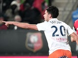 Montpellier's French midfielder Morgan Sanson celebrates after scoring a goal during the French L1 football match against Rennes on December 6, 2014