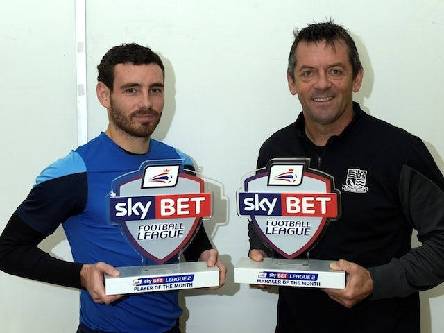 Southend United duo Phil Brown and Dave Worrall with their Manager and Player of the Month awards for November on December 4, 2014