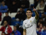Real Madrid's Colombian midfielder James Rodriguez celebrates after scoring during the Spanish Copa del Rey (King's Cup) round of 32 second leg football match Real Madrid CF vs UE Cornella at the Santiago Bernabeu stadium in Madrid on December 2, 2014