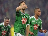 Saint-Etienne's Dutch forward Ricky Van Wolfswinkel celebrates after scoring a goal during the French L1 football match against Bastia on December 6, 2014