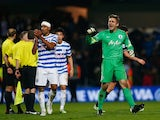 Goalkeeper Robert Green of QPR celebrates victory after the Barclays Premier League match between Queens Park Rangers and Burnley at Loftus Road on December 6, 2014