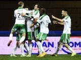 Saint-Etienne's players react after scoring a goal during the French L1 football match between Montpellier and Saint Etienne on December 3, 2014