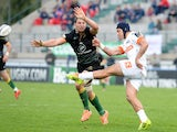 Samuel John Christie of Benetton Treviso scores the ball during the European Rugby Champions Cup Match on December 6, 2014