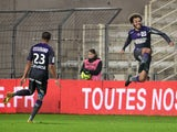 Toulouse's Danish forward Martin Braithwaite celebrates after scoring a goal during the French L1 football match between Nantes (FCN) and Toulouse (TFC) on December 2, 2014