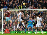 West Ham United's English striker Andy Carroll scores West Ham's first goal to equalise during the English Premier League football match between West Ham United and Swansea City at the Boleyn Ground, Upton Park, in east London on December 7, 2014