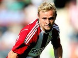 Alex Pritchard of Brentford in action during the Pre Season Friendly between Brentford and Nice at Griffin Park on July 26, 2014