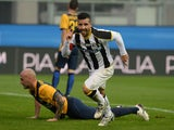 Antonio Di Natale of Udinese Calcio celebrates after scoring his opening goal during the Serie A match between Udinese Calcio and Hellas Verona on December 14, 2014