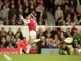 Ray Parlour of Arsenal celebrates during the FA Carling Premier League match against Newcastle United played at Highbury in London on December 9, 2000