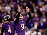 Kicker Justin Tucker #9 of the Baltimore Ravens celebrates after kicking a fourth quarter fieldgoal against the Jacksonville Jaguars at M&T Bank Stadium on December 14, 2014