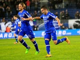 Bastia's Franco Algerian midfielder Ryad Boudebouz celebrates after scoring a goal during the French L1 football match Bastia (SCB) against Rennes (SRFC) on December 13, 2014