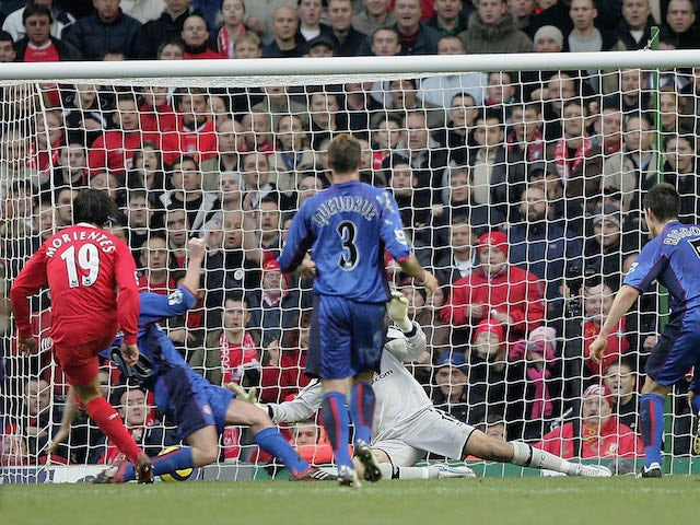 Fernanado Morientes of Liverpool scores the first goal during the Barclays Premiership match between Liverpool and Middlesbrough at Anfield on December 10, 2005