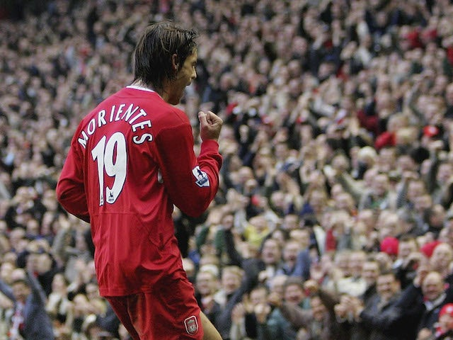 Fernando Morientes of Liverpool celebrates after scoring his second goal during the Barclays Premiership match against Middlesbrough on December 10, 2005
