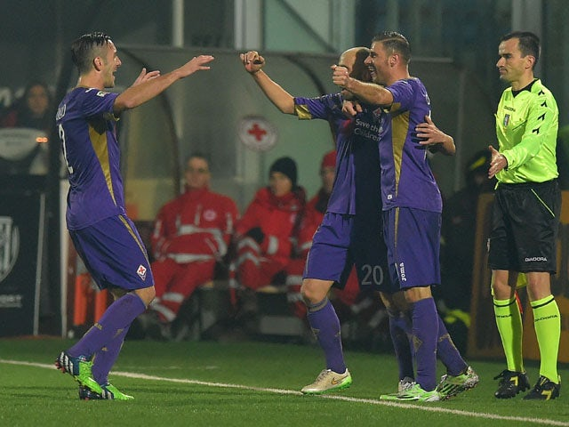 Borja Valero of Fiorentina celebrates after scoring the opening goal during the Serie A match between AC Cesena and ACF Fiorentina at Dino Manuzzi Stadium on December 14, 2014