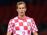 Ivan Strinic of Croatia in action during the FIFA 2014 World Cup Qualifying Group A match between Scotland and Croatia at Hampden Park on October 15, 2013