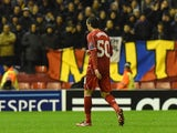 Liverpool's Serbian midfielder Lazar Markovic leaves the field after being sent off during the UEFA Champions League group B football match against Basel on December 9, 2014