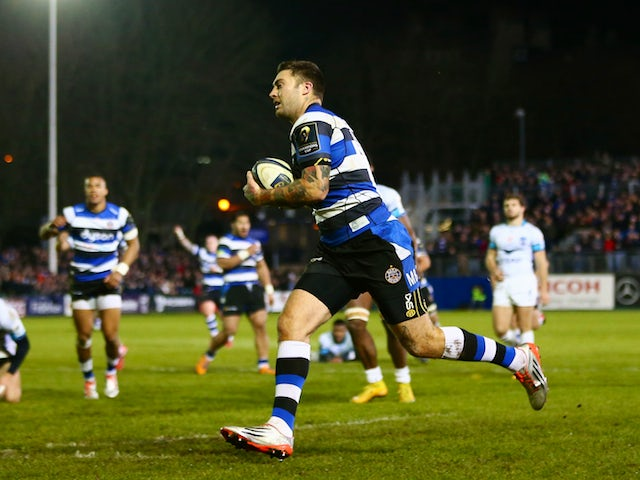 Matt Banahan of Bath scores his second try during the European Rugby Champions Cup Pool Four match against Montpellier on December 12, 2014