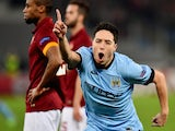 Manchester City's French midfielder Samir Nasri celebrates after scoring during the UEFA Champions League football match AS Roma vs Manchester City on December 10, 2014