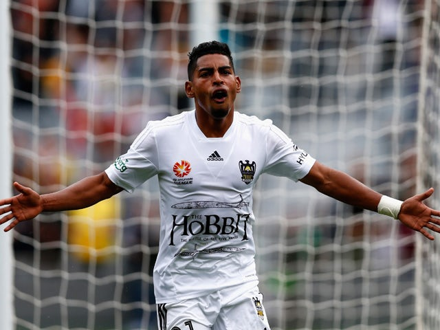 Roy Krishna of the Phoenix celebrates his goal during the round 11 A-League match between the Wellington Phoenix and the Central Coast Mariners at Eden Park on December 13, 2014