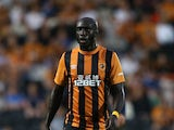 Yannick Sagbo of Hull City looks on during the UEFA Europa League third qualifying round: second leg match between Hull City and AS Trencin at KC Stadium on August 7, 2014
