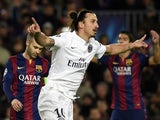 Paris Saint-Germain's Swedish striker Zlatan Ibrahimovic celebrates after scoring a goal during the UEFA Champions League Group F football match against FC Barcelona on December 10, 2014