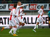 Mike van der Hoorn of Ajax celebrates scoring his team first goal of the game during the Dutch Eredivisie match between S.B.V. Excelsior Rotterdam and Ajax Amsterdam held at the Woudestein Stadium on December 21, 2014