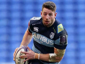 Alex Cuthbert of Cardiff in action during the European Rugby Challenge Cup match between London Irish and Cardiff Blues at Madejski Stadium on December 13, 2014