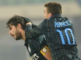 Andrea Ranocchia of Internazionale Milano celebrates after scoring his team's second goal during the Serie A match against AC Chievo Verona on December 15, 2014