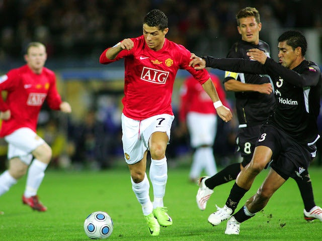 Cristiano Ronaldo of Manchester United in action during the FIFA Club World Cup Japan 2008 Final match against Liga De Quito on December 19, 2014