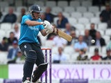 Gary Ballance of England hits out during the 1st Royal London One Day International match between England and Sri Lanka at The Kia Oval on May 22, 2014