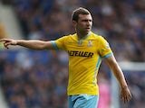 James McArthur of Crystal Palace gestures during the Barclays Premier League match between Everton and Crystal Palace at Goodison Park on September 21, 2014