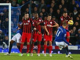 Kevin Mirallas of Everton scores their second goal from a free kick during the Barclays Premier League match against Queens Park Rangers on December 15, 2014