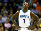 Lance Stephenson #1 of the Charlotte Hornets reacts to a call against the Los Angeles Clippers during their game at Time Warner Cable Arena on November 24, 2014