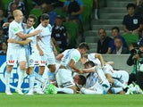 Melbourne City players celebrate a goal during the round 12 A-League match between Melbourne City FC and Melbourne Victory at AAMI Park on December 20, 2014