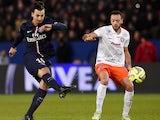 Paris Saint-Germain's Swedish forward Zlatan Ibrahimovic shoots during the French L1 football match between Paris Saint-Germain (PSG) vs Montpellier (MHSC) on December 20, 2014
