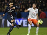 Paris Saint-Germain's Swedish forward Zlatan Ibrahimovic shoots during the French L1 football match between Paris Saint-Germain (PSG) vs Montpellier (MHSC) on December 20, 2014