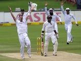 South African bowler Dale Steyn celebrates as he takes the wicket of West Indies batsman Shivnarine Chandepaul during the 4th day of the first test match between South Africa and the West Indies at Supersport Park in Centurion on December 20, 2014