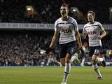 Tottenham Hotspur's Argentinian midfielder Erik Lamela celebrates scoring their second goal during the English Premier League football match between Tottenham Hotspur and Burnley at White Hart Lane in London on December 20, 2014