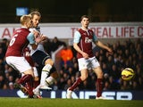 Harry Kane of Tottenham Hotspur scores the opening goal during the Barclays Premier League match between Tottenham Hotspur and Burnley at White Hart Lane on December 20, 2014
