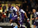 Toulouse's French Malian midfielder Tongo Doumbia jubilates after scoring during the French L1 football match Toulouse (TFC) vs Guingamp (EAG) on December 20, 2014