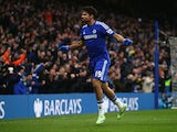 Diego Costa of Chelsea celebrates scoring their second goal during the Barclays Premier League match between Chelsea and West Ham United at Stamford Bridge on December 26, 2014