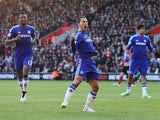 Eden Hazard of Chelsea celebrates scoring his goal during the Barclays Premier League match between Southampton and Chelsea at St Mary's Stadium on December 28, 2014