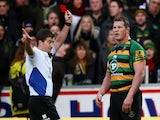 Northampton captain Dylan Hartley is shown the red card and sent off by referee JP Doyle during the Aviva Premiership match against Leicester on December 20, 2014