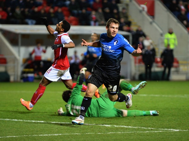 Ryan Fraser of Bournemouth celebrates after scoring their third goal during the FA Cup Third Round match between Rotherham United and Bournemouth at The New York Stadium on January 3, 2015